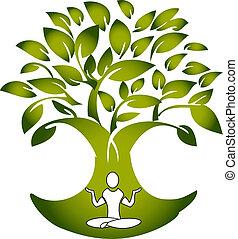Yogafigur mit Baumlogovektor