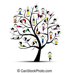 Yogatraining, Baumkonzept für dein Design