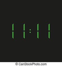zahlen, hintergrund, grün, eins, 11:11, ?, elektronisch, vier, uhr, zeit, wiederholen, elf, schwarz