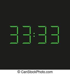 zahlen, hintergrund, grün, elektronisch, vier, 33:33, uhr, wiederholen, dreißig, drei, datum, ?, schwarz