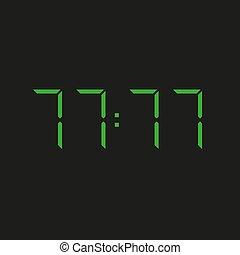 zahlen, sieben, hintergrund, siebzig, grün, 77:77, elektronisch, vier, uhr, wiederholen, datum, ?, schwarz