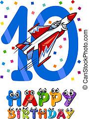 Zehnter Geburtstags-Cartoon-Design.