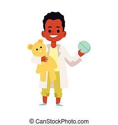 zeichen, doktor, wohnung, afrikanischer amerikanischer junge, abbildung, vektor, kind, isolated.