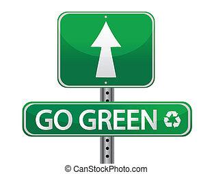 zeichen, gehen, grün