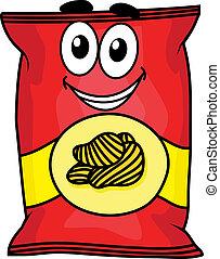 zeichen, kartoffel, karikatur, späne