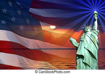 Zeichen und Symbole von Amerika