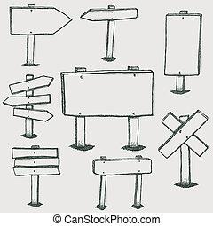 Zeichne Holzzeichen und Richtungspfeile