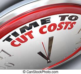 Zeit, die Kosten zu senken, die Ausgaben zu senken.
