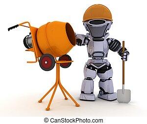 zement, bauunternehmer, roboter, mixer
