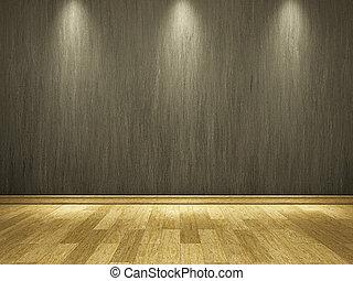 Zementwand und Holzboden