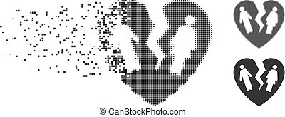 Zerbrochenes Familienherz zerstörte Pixel Halbton Icon