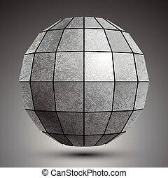 Zink Facet dimensional Globus mit Quadraten, grunge abstraktes Objekt.
