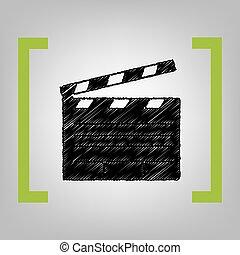zitrone, zeichen., kino, grayish, brett, hintergrund., schwarz, klatschen, vector., kritzeln, träger, film, ikone
