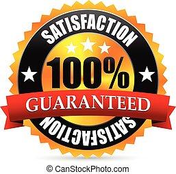 Zufriedenheit garantiert Dicht, Stempel oder Marke mit rotem Band, Banner Satisfaction Garantie Dicht, Stempel oder Marke mit rotem Band, Banner.