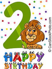 Zweiter Geburtstags-Cartoon-Design.